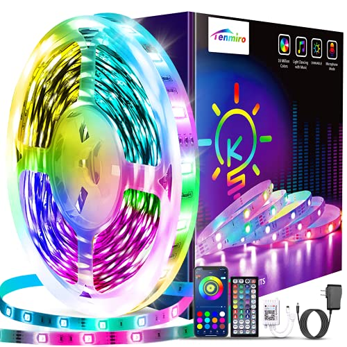 Tenmiro 65.6ft Led Lights for Bedroom,Ultra Long Smart Music Sync LED Strip Lights APP Control with Remote RGB Color Changing Led Lights for Room Kitchen Party Home Decoration