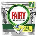 Fairy Platinum - Cápsulas todo en uno de limón, para lavavajillas, 65 cápsulas, para desafíos difíciles, limpia los residuos de grasa en el filtro