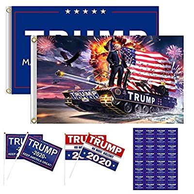 2pcs Trump 2020 Flags 3x5 Outdoor (Make America Great Again and Trump Tank Flag) with Brass Grommets and 4 Holding Small Trump Flag and 32PCS Stickers, Presidential Election Trump Signs for Yard