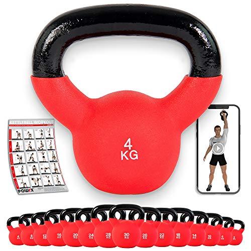 POWRX Kettlebell 4-30 kg | Kugelhantel Neopren (4 kg)