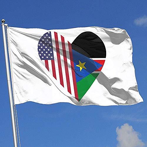 Qinzuisp Home Flag Half Zuid-Soedan vlag Half Usa vlag Liefde Hart Polyester Tuinvlag Levendige banner met oogjes Huis Vlag in de open ruimte Vlag Hof Banner Welkom Kleurrijke Mooi 150X