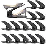amzdeal - 30pcs Organizadores de Zapatos Ajustables Soportes de Calzado con Ranuras Ahorra 50% de Espacio PP 3 Niveles Altura para Calzado Deportivo Tacones Altos Zapatos Planos