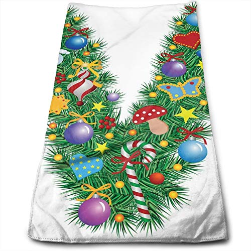 Towels Multi-Purpose Microfiber Soft Fast Drying Travel Gym Home Hotel Office Washcloths,Ornament Christmas Tree Design Capitalized V Festive Elements Bells Candies Print,27.5 inch X15.7Inch