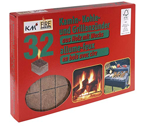 32 allume cigare pour barbecue, charbon et cheminée en bois naturel avec cire KM Firemaker Art. 266