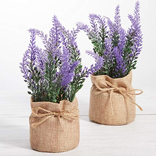 LUEUR Artificial Lavender Potted Flowers, 2 Pack Fake Potted Lavender Flower for Table Decoration, Faux Flower Planter in Burlap Pot for Home Decor