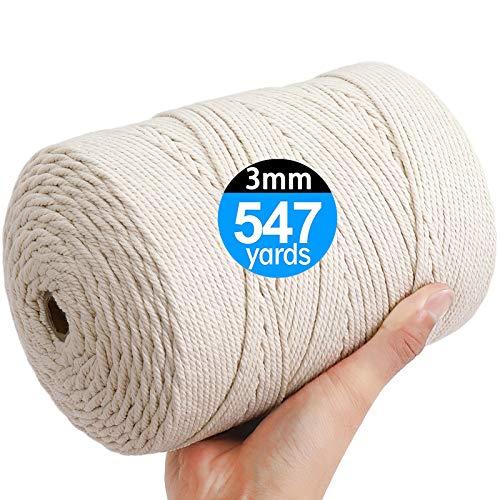 AIFUN Macrame Cord 3mm X 547yd Not Dyed 100% Natural Cotton Macrame Rope, 4...