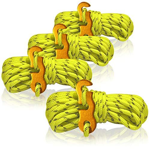 com-four® 4X Abspannseil für Camping reflektierend in gelb - Zeltschnur Leuchtend - Spannschnur - Camping Schnur - Seilspanner - Zeltleine - Sturmband