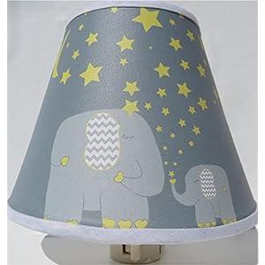 Elephant Night Lights with Yellow Stars and Moon Jungle Safari Elephant Nursery Wall Decor