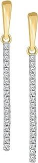 0.20ct Round White Diamond 10K Gold Bar Dangle Earring for Women