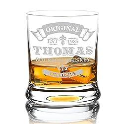 polar-effekt Leonardo Whiskyglas mit Gravur, hochwertiges Whiskey Tumbler Glas graviert - Name und Jahreszahl - Motiv: Original Exclusive, 350ml