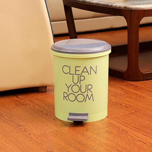 RYYAIYL StepOn Wastebasket/Compact Plastic Round Bathroom Step Trash Can/6.5L(8.07X10.4X9.05inches...