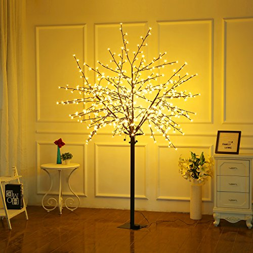 Bolylight LED Cherry Blossom Tree 8ft 600L LED with Light Controller Decoration Lighted Tree for Bedroom/Party/Wedding/Office/Home Indoor and Outdoor Use Warm White