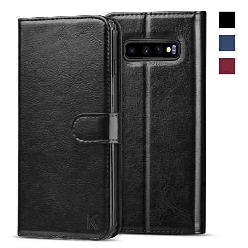 KILINO Samsung Galaxy S10 Hülle [PU Leder][RFID Blocker][Schützt vor Stößen][Kartenfach][Standfunktion] Handyhülle Klapphüllen Handytasche Schutzhülle Lederhülle Flip Cover Case (Schwarz)