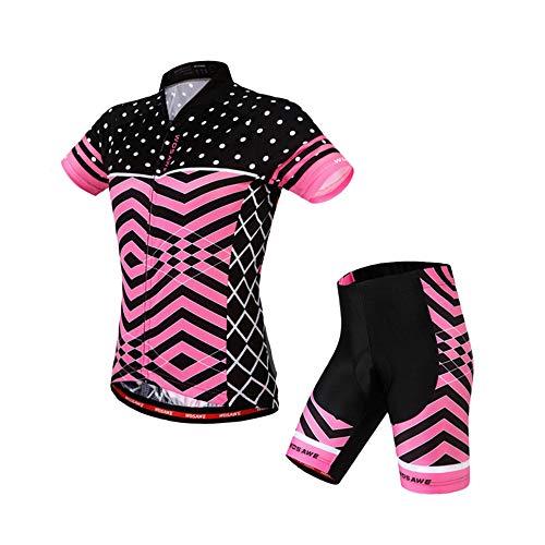 RJHY Jerseys de Mujer Sudaderas de Ciclismo Mountain Bike Jersey Conjunto de Manga Corta Bicicleta de Carretera Tops de Manga Corta Pantalones Cortos de Silicona,M