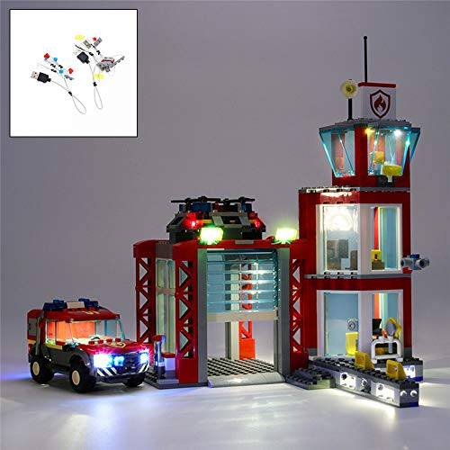 QJXF Juego De Luces USB Compatible con La Estación De Bomberos Lego City Juego De Construcción 60215, LED Light Kit para (Estación De Fuego) De Bloques De Creación De Modelos (No Incluido Modelo)