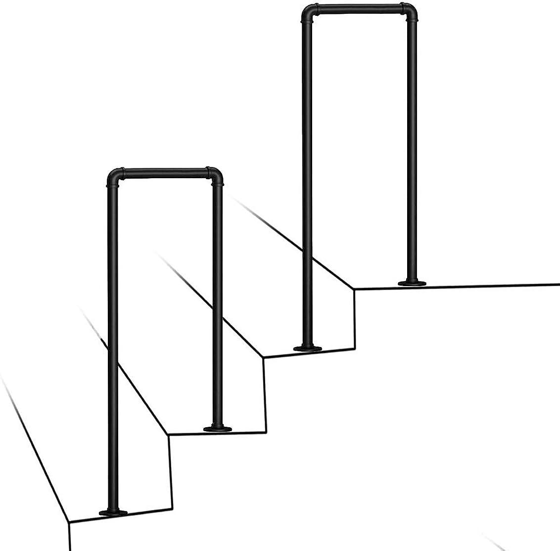 平らにする推定する条約HENGGE 手すりU字型、マットブラック安全アンチスリップ錬鉄はヴィラガーデンチャンネル手すりサポートバー用のパイプ手すりを、亜鉛メッキ (Color : 3.2cm, Size : 55cm(1.8ft))