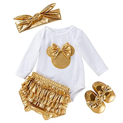 TMOYJPX Ropa Bebe Niño Conjunto 0-24 Meses Invierno Regalos Disfraz Mono + Pantalones + Banda de Pelo para Niñas Pelele Mameluco Bebé Recien Nacido Otoño (3-6 meses, Blanco)