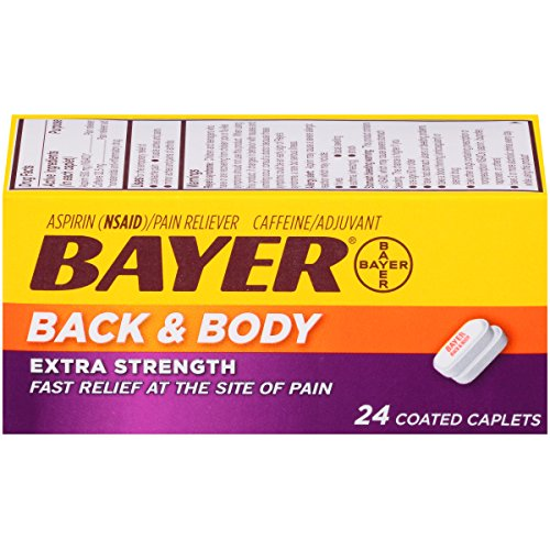 Bayer Back & Body Extra Strength Aspirin, 500mg Coated Tablets, Fast Relief at The Site of Pain, Pain Reliever with 32.5mg Caffeine, 24 Count (Pack of 3)