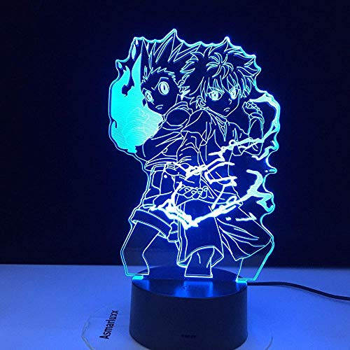 Hunter X Anime LED Nachtlicht Killua Zoldyck Figur Nachtlicht Farbwechsel USB Tisch 3D Tischlampe Kinder Geschenk