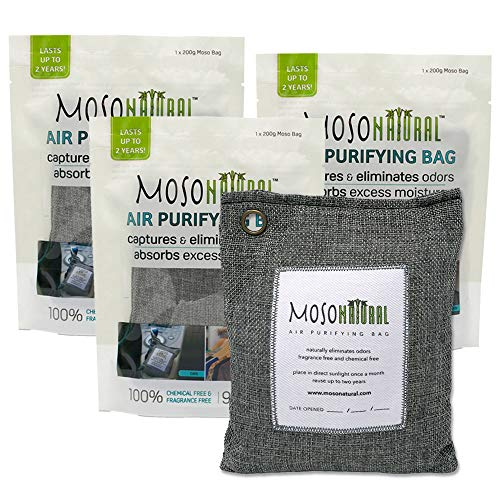 MOSO NATURAL Air Purifying Bags. Odor Eliminator, Odor Absorbers. (3) Individually Sealed 200g Charcoal Color Bags