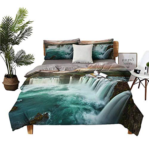 Four-Piece Bedding Crib Sheets Flat Sheet Majestic Iceland Waterfall Flowing Down The River Northern Magical Nature Photo Multicolor Student Dormitory W80 xL90