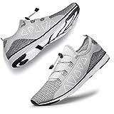 YHOON Men's Kayaking Shoes - Sports Aqua Shoes Lightweight Outdoor Quick Drying Silver Grey 9.5