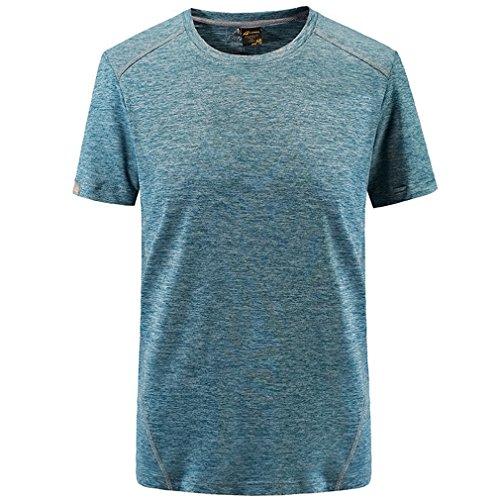 emansmoer Hommes Outdoor Manches Courtes Ras du Cou Séchage Rapide Respirant Sports T-Shirt Wicking Casual Léger Running Tee Shirt (XXX-Large, Bleu)