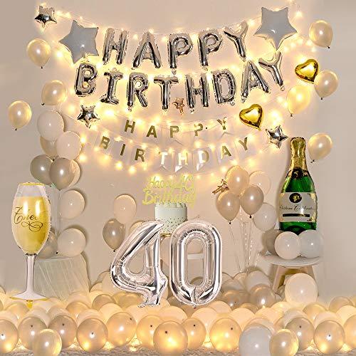 30 Globos Decoración Cumpleaños Para Hombres o Mujeres, INS Tema Plata Blanca, Globos Papel Aluminio Para Botellas Vino, Globo Papel Corazón Estrella, Adorno Pastel Dorado Para Fiestas Decoración (40)
