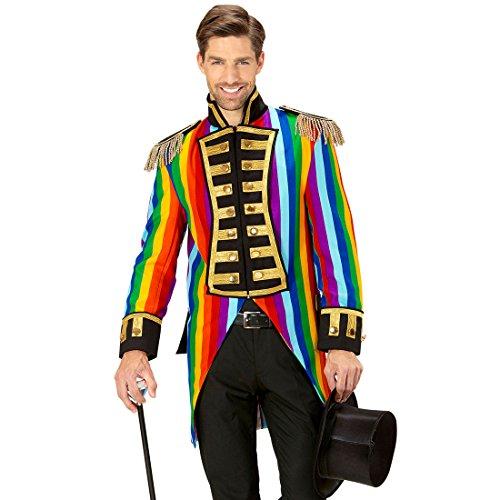 Amakando Zirkusdirektor Kostüm - L (52) - Zirkus Herrenkostüm Eleganter Gehrock Manege Bunter Herrenfrack Venezianischer Mantel Regenbogen Frack Herren