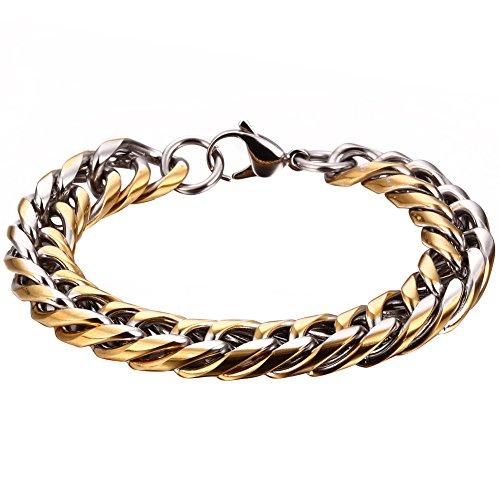 JewelryWe Schmuck 22cm Damen Herren Armband, Edelstahl Panzerkette Schmuck, Farbe Silber Gold