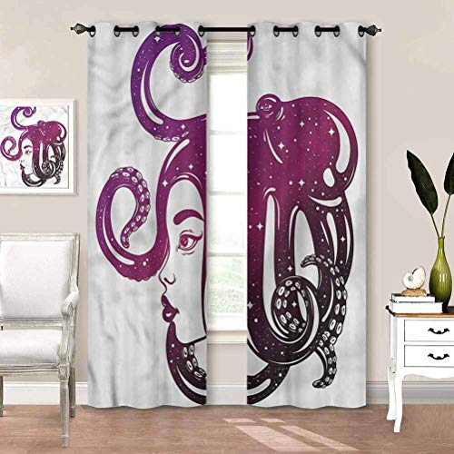 painting-home Draperies & Curtains Octopus, Girl Portrait Artwork Blackout Patio Door Curtain Panel Easy Care, Nice Look, Soft W63 x L45 Inch
