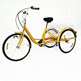 24' Adult Tricycle - 6 Speeds Gears 3 Wheel Bicycle,Adult Tricycle Bike with Shopping Basket,Cargo Trike Cruiser Cycling Tricycle for Outdoor Sports