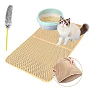 Authda Cat Litter Mat with Cat Toy | Litter Trapping Mat Double Layer Waterproof | Cat Litter Tray M...