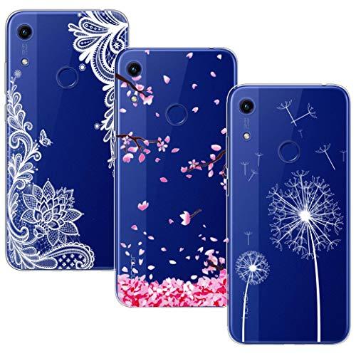 Yoowei [3-Pack] Cover per Huawei Y6s / Honor 8A Trasparente con Disegni, Morbida Silicone Ultra Sottile TPU Gel Custodia per Honor 8A / Huawei Y6s, Fiori Bianco + Fiore di Ciliegio + Tarassaco