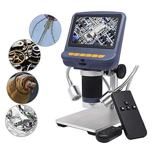 NOBGP Microscopio USB Digital, cámara de microscopio de Aumento LCD de 4.3 Pulgadas 10X-220X con 8 Luces LED Ajustables para la reparación de circuitos de PCB, evaluación de Joyas