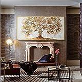 Geiqianjiumai Cuchillo de Lona, árbol de Oro, Pintura al óleo, Paleta Grande, Sala de Estar Moderna, Imagen de Arte de Pared Abstracta, Pintura sin Marco, 70x140 cm