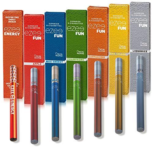 Ezee Fun Einweg E Zigarette 7 Verschiedene Geschmacks Nikotinfrei E-Liquid Elektronische Verdampfer 285mAh Akku Weiche Spitze E Shisha 7 Stück
