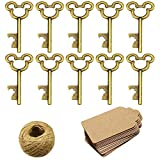50Pcs Vintage Skeleton Key Bottle Openers with 50pcs Escort Card Tag and Twine for Wedding Party Favors Rustic Decoration (Bronze)