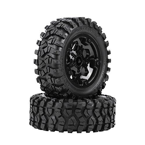 Zouminy 【 】 2PcsTPR Tyre Tires with Hubs Wheel for HG P402/ P601 1:10 RC Car/Crawler