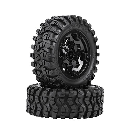 Zouminy 2PcsTPR Tyre Tires with Hubs Wheel for HG ​P402/ P601 1:10 RC Car/Crawler