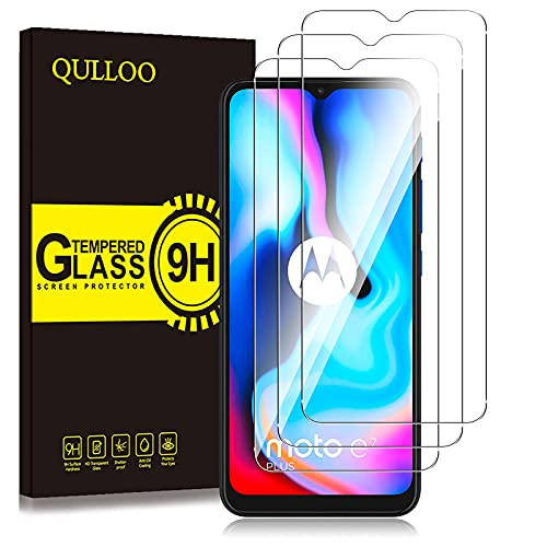 QULLOO Panzerglas für Motorola Moto E7 Plus/Moto E7/ Moto E7 Power / E7i Power [3 Stück], 9H Hartglas Schutzfolie HD Bildschirmschutzfolie Anti-Kratzen Panzerglasfolie
