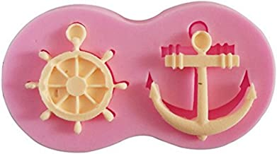 Efivs Arts Anchor Rudder Silicone Fondant Mold Candy Making Mold Cake Embossing Decoration