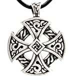 Trilogy Jewelry Pewter Solar Cross Celtic Irish Druid Pendant on Leather Necklace