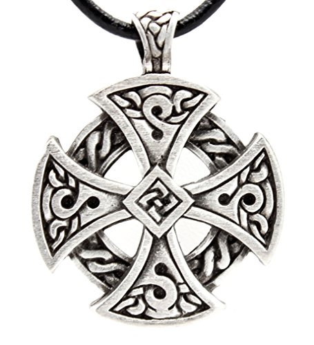 Trilogy Jewelry Pewter Solar Cross Celtic Irish Druid Pendant on Leather Necklace