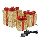 Sunnyglade Set of 3 Christmas Lighted Gift Boxes with Plug for Christmas Decor, Weddings Yard Home Holiday Art Decorations (Gold)