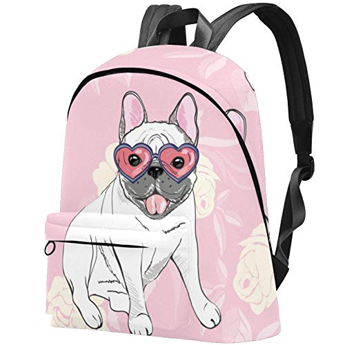 Canvas Backpack White French Bulldogs 21L Casual Outdoor Daypack for Men Women Boys Girls School Work