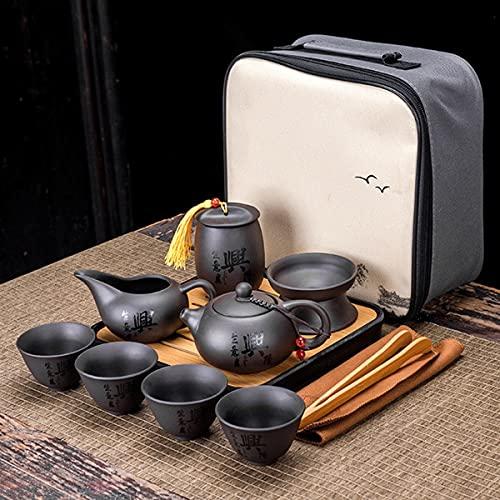Uioy Conjunto de té de Kungfu Chino con Bolsa de Viaje, Tetera de cerámica con 4 Tazas y colador de té, for el Hotel de Negocios al Aire Libre Amante del té (Color : E)