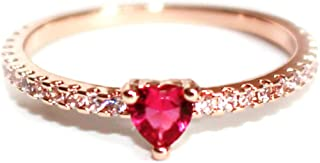 Excelsia 'Evania' 14K Rose/White Gold-Plated CZ Red Heart Ring