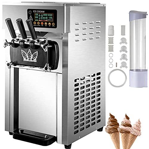 VEVOR Commercial Ice Cream Machine, 3 Flavor Countertop Soft Serve Machine, 5 Gal/H Commercial Ice Cream Maker with 2 Hoppers, Soft Ice Cream Machine for Restaurants Snack Bar Supermarkets