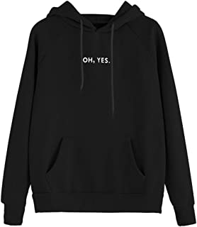 FNKDOR Femmes Sweat À Capuche À Manches Longues Mode Imprimer Letters Oh Yes Sweat-Shirts Blouse Sports Casual Pull Street...